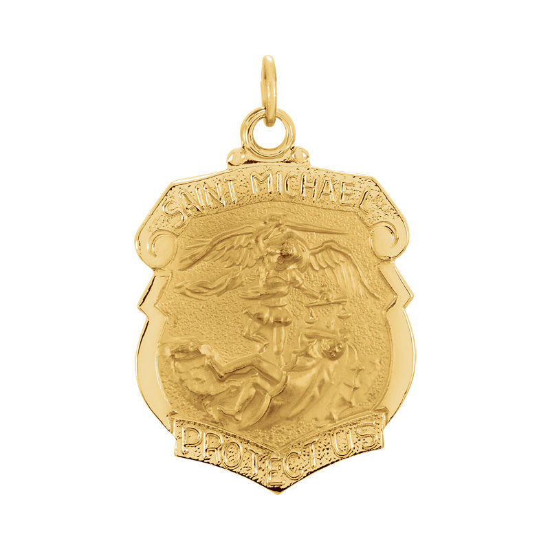 Saint Michael Shield Badge Pendant in Solid 14 Karat Yellow Gold Protect Us Medal