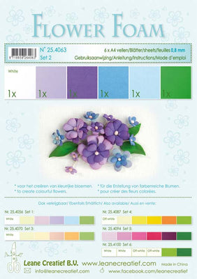 Flower Foam Set 2 6 A4 Sheets - Blue/Violet