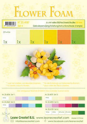 Flower Foam Set 4 6 A4 Sheets - Yellow
