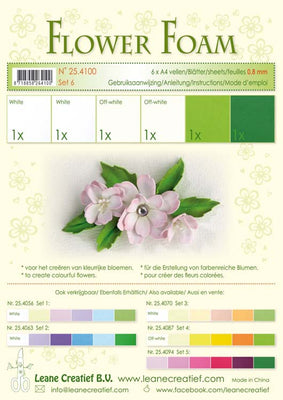 Flower Foam Set 6 6 A4 Sheets - White/Green