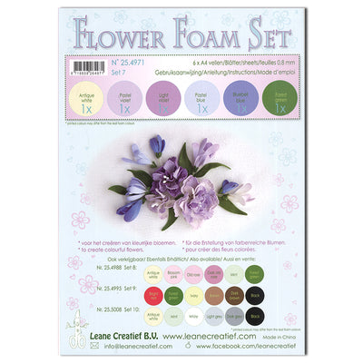 Flower Foam Set 7 6 A4 Sheets - Pastel Blue/Violet