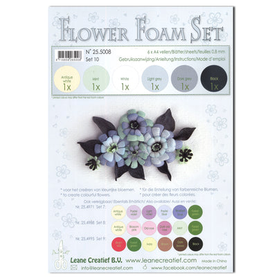 Flower Foam Set 10 6 A4 Sheets - Grey/Black