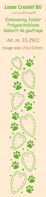 Leane Creatief BV-Border Embossing Folder Paws & Hearts