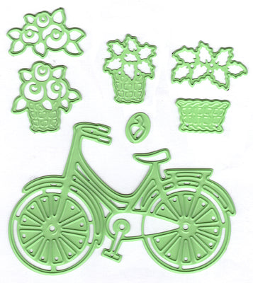 Leabilitie Bicycle with baskets  cut and embossing die