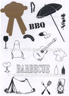 Joy! Crafts Cutting Die/Clear Stamp - Set - Barbecue