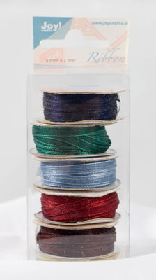 Organza 3mm Ribbon -Box of 5 -Burgundy Colours