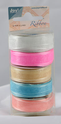 Organza 9mm Ribbon -Box of 5 -Pastel Colours