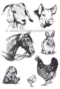 Joy! Crafts - Clear Stamp - At The Farm - Animals- Horse, Rabbit