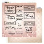 12x12 Patterned Paper  - Pink Words - Vintage Rose Collection (5)