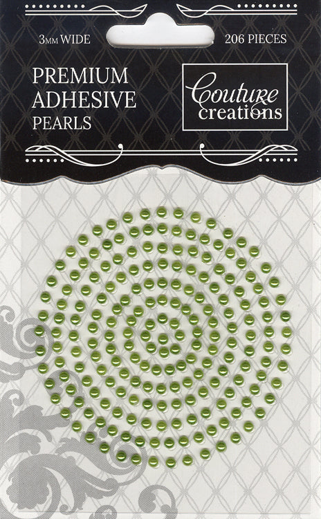 Couture Creations 3mm Pearls - Grass Green