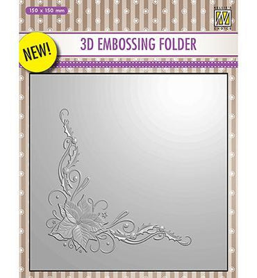 Nelle Choice 3D Embossing Folder - Poinsettia Corner
