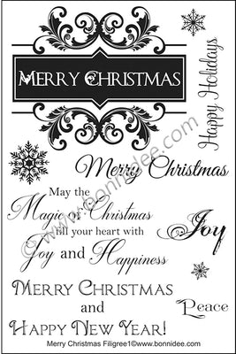 Bonnidee Stamps - Merry Christmas Filigree