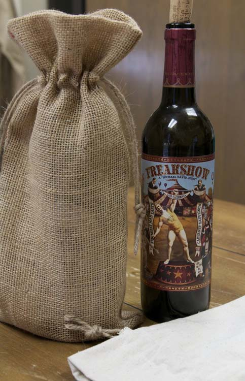 Canvas Corp Drawstring Burlap Wine Tote