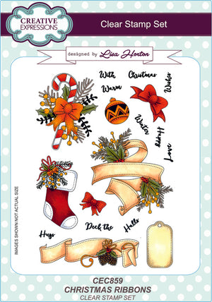 Creative Expressions - Clear Stamps - Christmas Ribbons