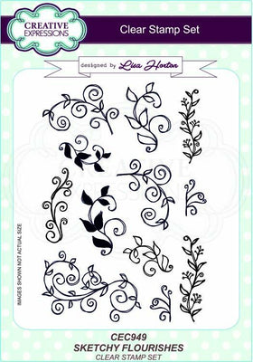 Sketchy Flourishes A5 Clear Stamp Set