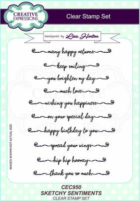 Sketchy Sentiments A5 Clear Stamp Set