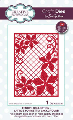 Sue Wilson Dies - Festive Collection - Lattice Poinsettia Background