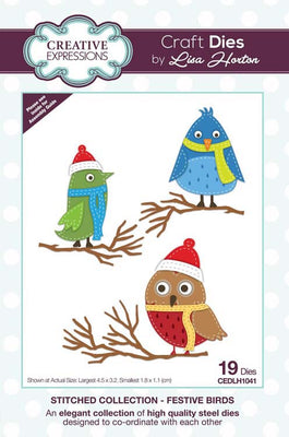 Creative Expressions Collection - Stitched Collection - Festive Birds Craft Die