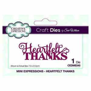 Dies by Sue Wilson Mini Expressions Collection Heartfelt Thanks