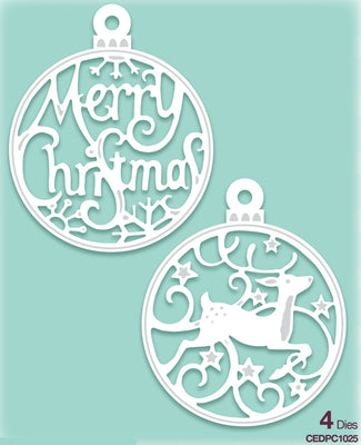 Creative Expressions - Paper Cuts Collection - Merry Christmas Bauble Duo