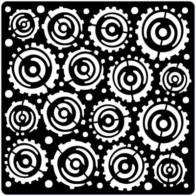 Creative Expressions Steampunk Cogs 6x6 Stencil