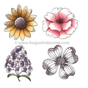 Frog's Whiskers Stamps - Flower Set Cling Mount Stamp