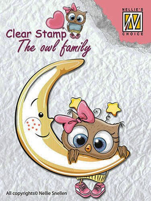 Nellie's Choice Clear Stamp The Owl Family - Family Moon