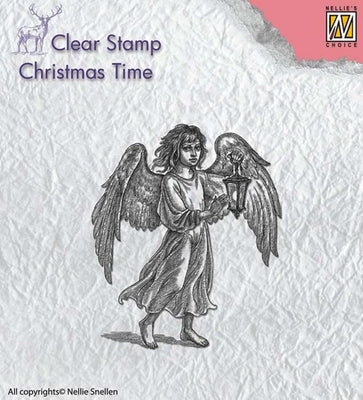 Nellie's Choice Clear Stamp Christmas Time - Angel with Lantern