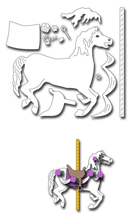 Frantic Stamper Cutting Die - Large Carousel Horse