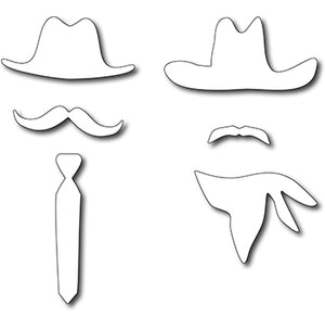 Frantic Stamper Cutting Die - American Dads Hats & Mustaches (set of 6 dies)