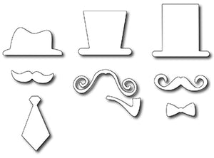 Frantic Stamper Cutting Die - Fancy Sirs Hats & Mustaches (set of 9 dies)