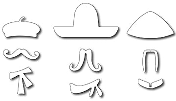 Frantic Stamper Cutting Die - International Hats & Mustaches (set of 9 dies)