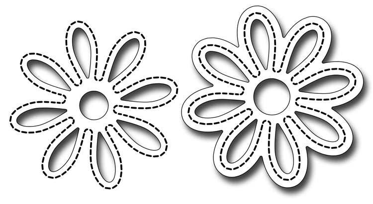 Frantic Stamper Cutting Die - Stitched Daisy Pair