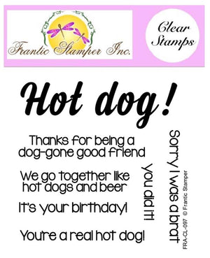 Frantic Stamper Clear Stamp - Set - Hot Dog Sentiments