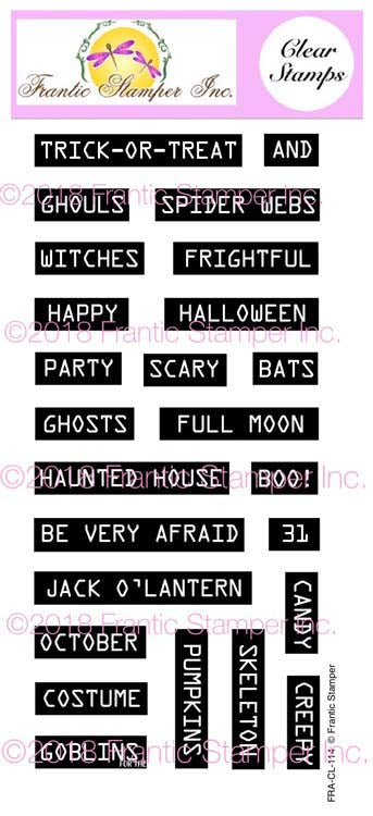 Frantic Stamper Clear Stamp - Set - Retro Label Maker Halloween Sentiments