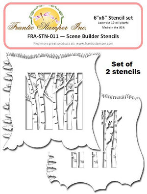 "Frantic Stamper - 6""x6"" Stencil - Scene Builder (set of 2)"