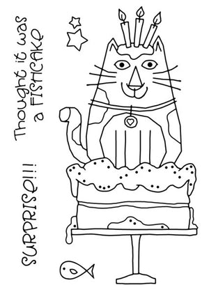 Woodware Clear Stamps - Cat Birthday Cake