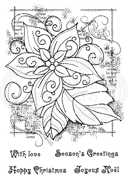 Woodware Clear Stamps - Framed Poinsettia