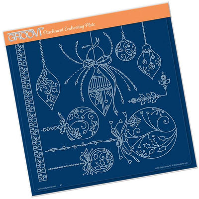 Groovi Plate - Tina's Christmas Baubles A4 Sq