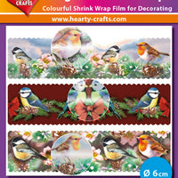 Hearty Crafts Magic Shrink Wraps. Metallic. Birds (6cm)
