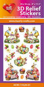 Hearty Crafts 3D Relief Stickers A4 - Easter Bunnies