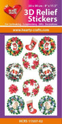 Hearty Crafts 3D Relief Stickers A4 - Christmas Wreaths
