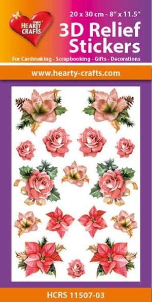 Hearty Crafts 3D Relief Stickers A4 - Christmas Flowers