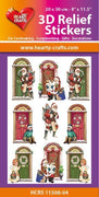 Hearty Crafts 3D Relief Stickers A4 - Christmas Doors 2