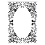 Hobby Solution Embossing Folder Christmas Holly Oval Frame