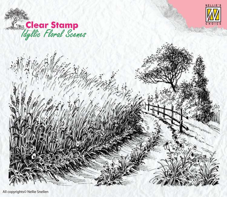 Nellie's Choice Clear Stamp Idyllic Floral Scenes - Cornfield and Country Road