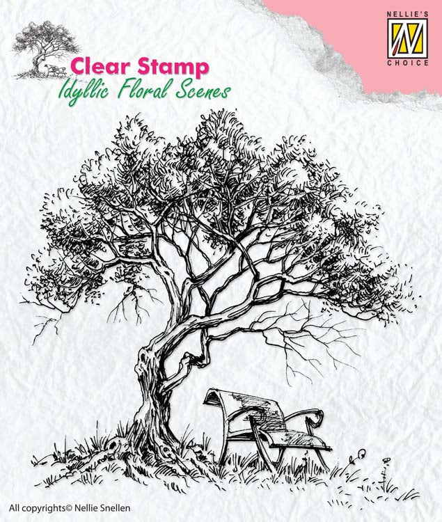 Nellie's Choice Clear Stamp Idyllic Floral Scenes - Tree with Bench