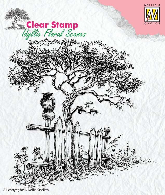 Nellie's Choice Clear Stamp Idyllic Floral Scenes - Tree with Fence