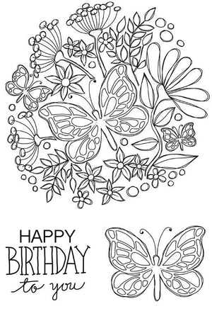 Woodware Clear Stamps - Butterfly Posy