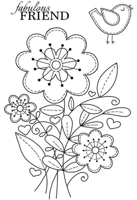 Woodware Clear Stamps - Stitched Flowers